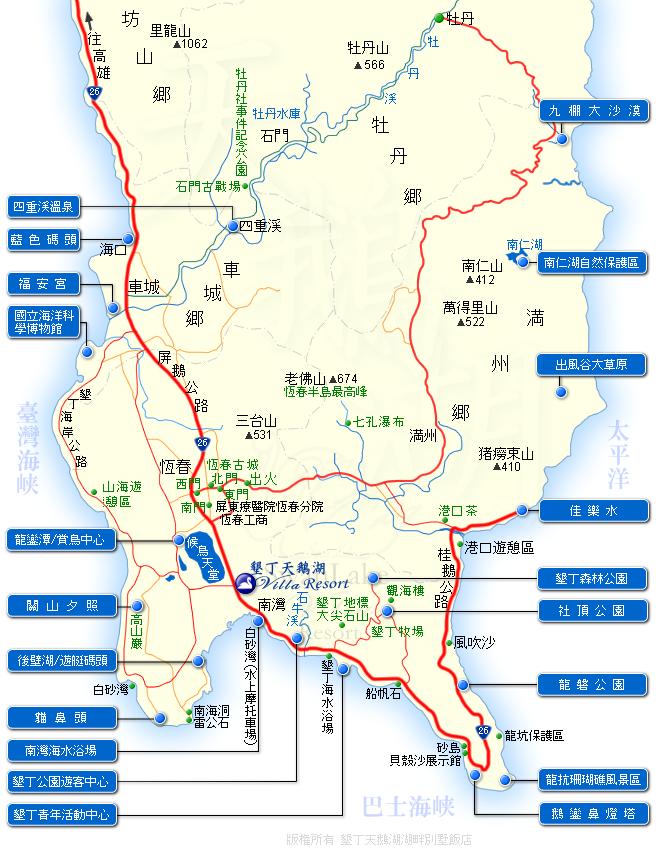 墾丁旅遊地圖 墾丁旅遊景點